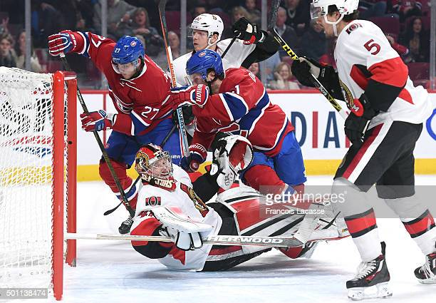 Alex Galchenyuk of the Montreal Canadiens takes a shot on goal Craig Anderson of Ottawa Senators in the NHL game at the Bell Centre on December 12...