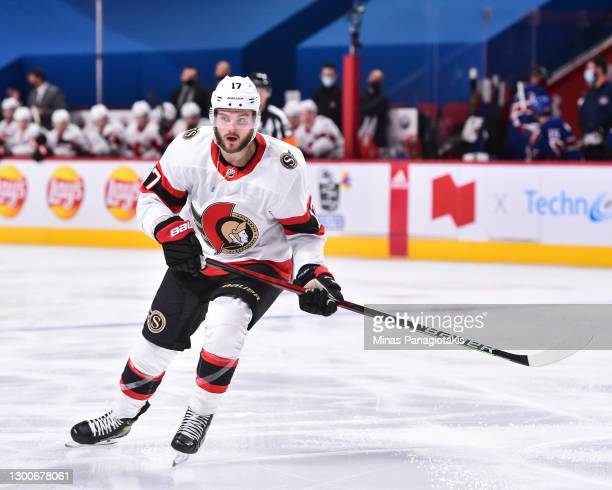 Alex Galchenyuk of the Ottawa Senators skates against the Montreal Canadiens during the third period at the Bell Centre on February 4, 2021 in...