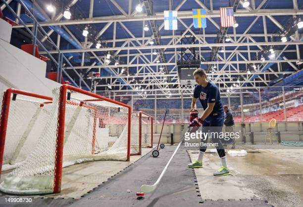 Alex Galchenyuk of the USA Blue Squad warms up prior to his game against Team Finland at the USA hockey junior evaluation camp at the Lake Placid...