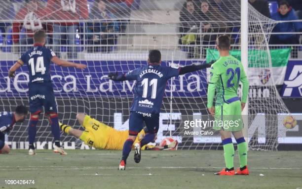 Alex Gallar of SD Huesca during the La Liga match between SD Huesca and Real Betis Balompie La Liga at El Alcoraz on January 5 2019 in Huesca Spain