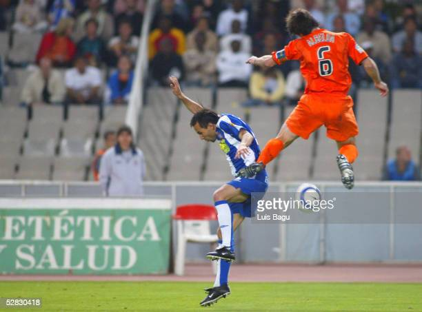 Alex Garcia of Espanyol and David Albelda of Valencia are seen during the La Liga match between RCD Espanyol and Valencia on May 15 2005 at Lluis...