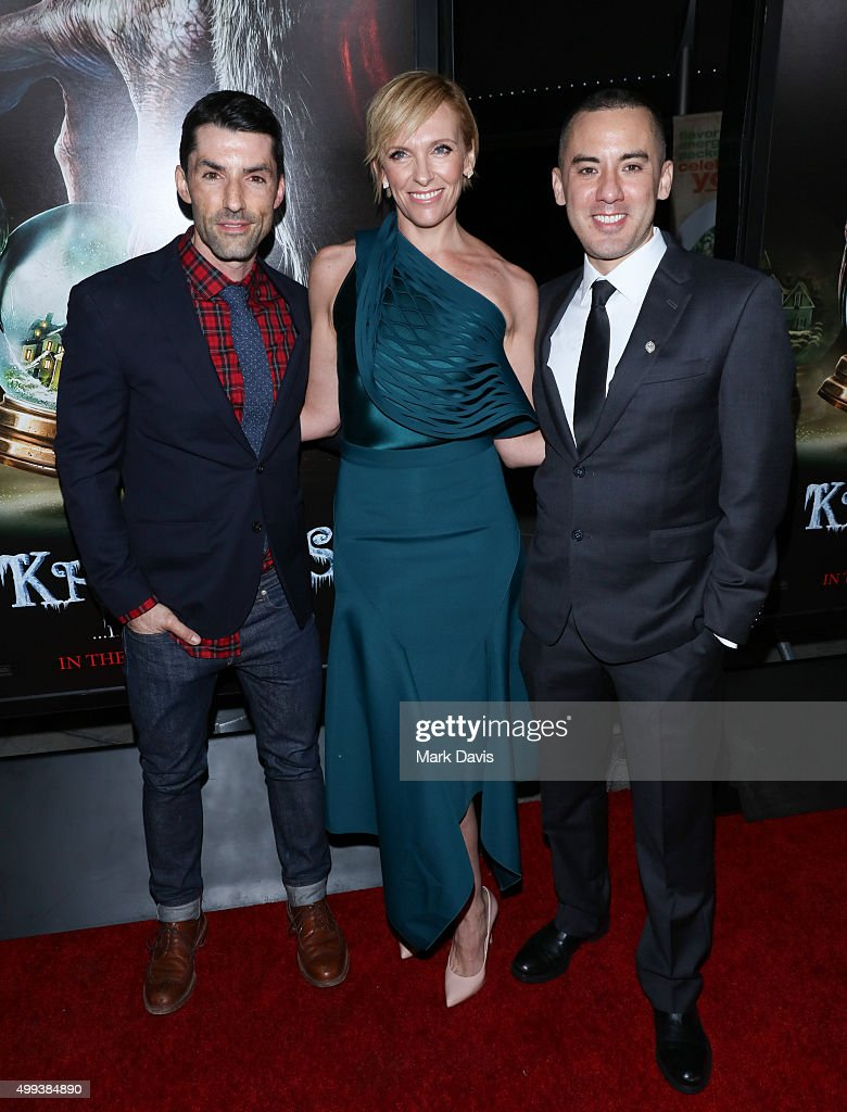 Alex Garcia, Toni Collette and Michael Dougherty attend the screening of Universal Pictures' 'Krampus' held at ArcLight Cinemas on November 30, 2015 in Hollywood, California.