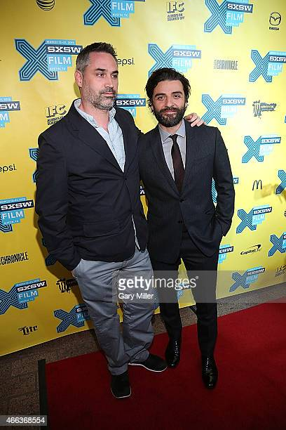 Alex Garland and Oscar Isaac walk the red carpet at the premiere of Ex Machina at the Paramount Theater during the South by Southwest Film Festival...