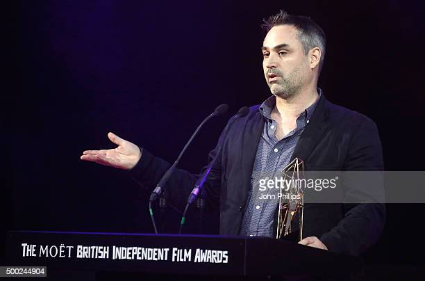 Alex Garland wins the Best Director award for 'Ex Machina' at The Moet British Independent Film Awards 2015 at Old Billingsgate Market on December 6...