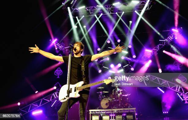 Alex Gaskarth of All Time Low performs on stage at the O2 Academy Brixton on March 31 in London United Kingdom