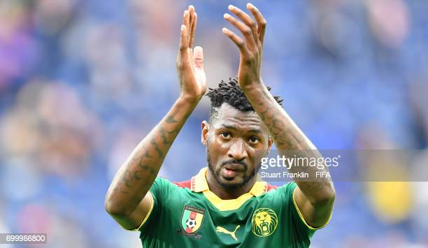 Alex Gersbach Cameroon claps the fans after the FIFA Confederation Cup Group B match between Cameroon and Australia at Saint Petersburg Stadium on...