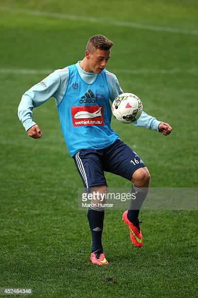 Alex Gersbach controls the ball during a Sydney FC training session at Forsyth Barr Stadium on July 21 2014 in Dunedin New Zealand
