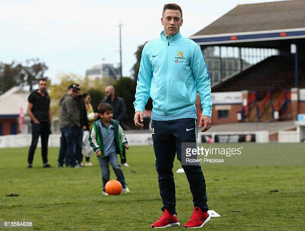 Alex Gersbach looks on during a coaching clinic during the Caltex Socceroos Fan Day at North Port Oval on October 9 2016 in Melbourne Australia