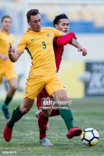 Alex Gersbach of Australia fights for the ball with Nguyen Cong Phuong of Vietnam during the AFC U23 Championship China 2018 Group D match between...