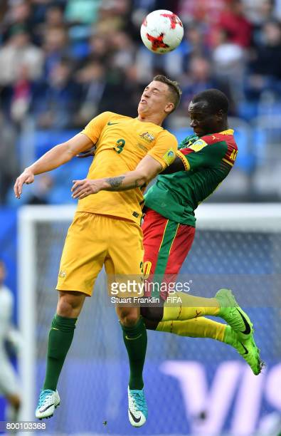 Alex Gersbach of Australia is challenged by Vincent Aboubakar of Cameroon during the FIFA Confederation Cup Group B match between Cameroon and...