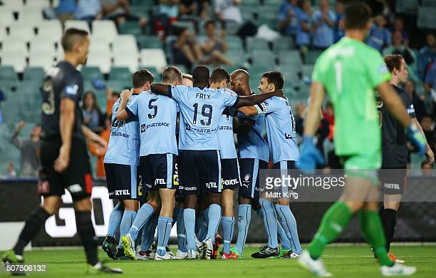 Alex Gersbach of Sydney FC celebrates scoring a goal during the round 17 ALeague match between Sydney FC and the Brisbane Roar at Allianz Stadium on...