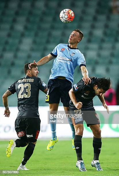 Alex Gersbach of Sydney FC heads the ball during the round 17 ALeague match between Sydney FC and the Brisbane Roar at Allianz Stadium on January 30...