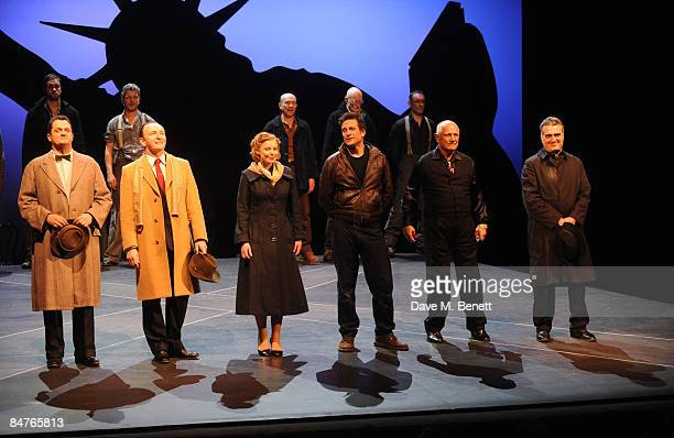 Alex Giannini Antony Byrne Bryony Afferson Simon Merrells Steven Berkoff and Vincenzo Nicoli pose on stage during the press night of 'On The...