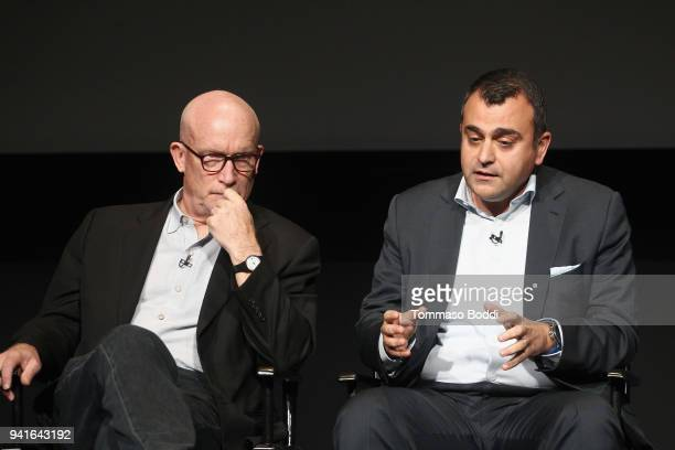Alex Gibney and Ali Soufan speak onstage during the The Looming Tower FYC screening at the Television Academy on April 3 2018 in Los Angeles...