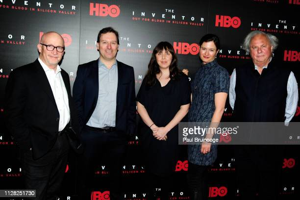 Alex Gibney John Carreyrou Erin Edeiken Jessie Deeter and Graydon Carter attend HBO Hosts The Premiere Of The Inventor Out For Blood In Silicon...