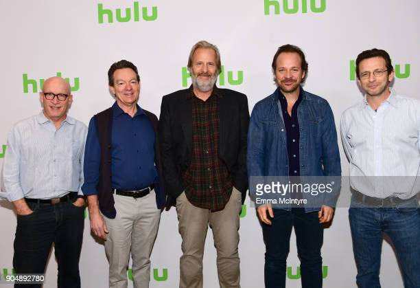 Alex Gibney Lawrence Wright Jeff Daniels Peter Sarsgaard and Danny Futterman attend the Hulu Winter TCA at Langham Hotel on January 14 2018 in...