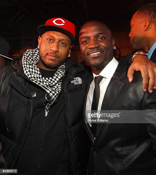 Alex Gidewon and Akon attend Young Jeezy's 'Presidential Status' Inauguration Ball at Club Love on January 18 2009 in Washington DC