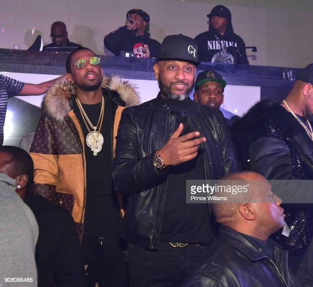 Alex Gidewon and Fabolous attend the 1st Party of The Year at Gold Room on January 2 2018 in Atlanta Georgia