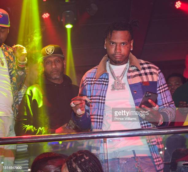 Alex Gidewon and Moneybagg Yo attend Moneybagg Yo Album Release Party at Republic Lounge on April 24, 2021 in Atlanta, Georgia.