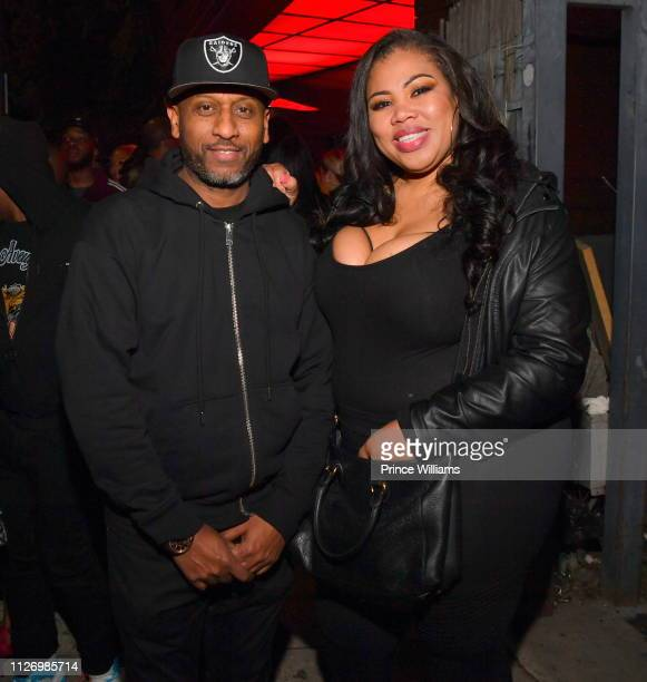 Alex Gidewon and Raquel Harper attend The Official Big Game Take over Hosted by DiddyJeezyFuture at Compound on February 2 2019 in Atlanta Georgia