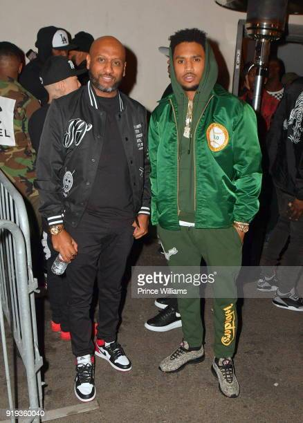 Alex Gidewon and Trey Songz attend All Star weekend Kick Off Party at Boulevard3 on February 17 2018 in Hollywood California
