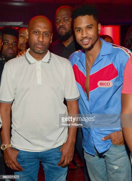 Alex Gidewon and Trey Songz attend Birthday Bash Celebration Hosted by Lil Baby Trey Songz and YFN Lucci at Compound on June 17 2018 in Atlanta...