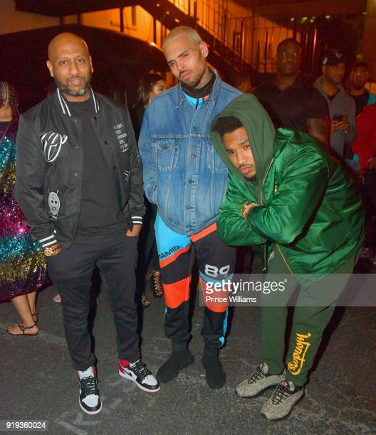 Alex Gidewon Chris Brown and Trey Songz attend All Star Weekend Kick Off Party at Boulevard3 on February 17 2018 in Hollywood California
