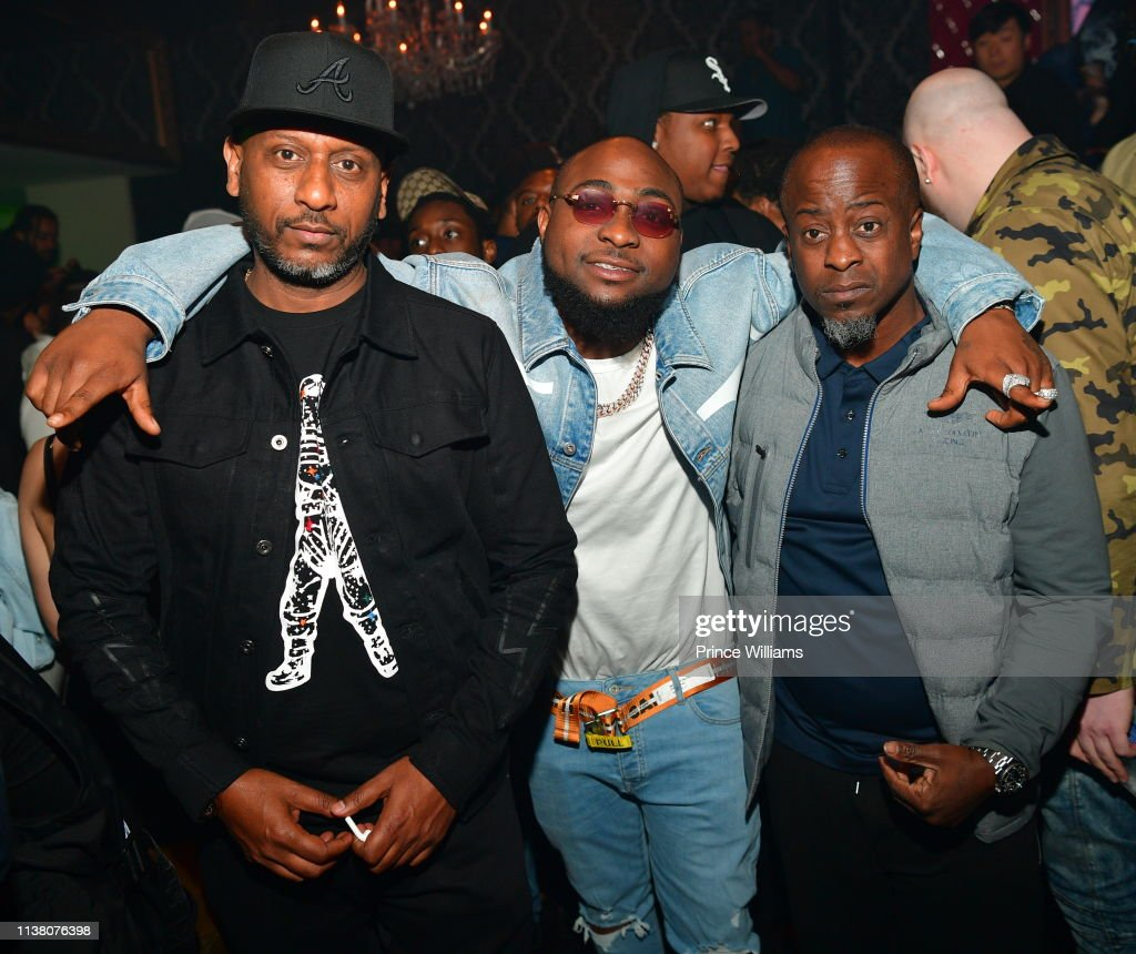 Alex Gidewon, Davido and Efe Ogbeni attend a party at