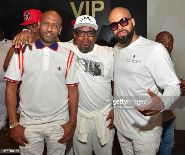 Alex Gidewon Emory Jones and Kenny Burns attend The All White Affair at Gold Room on May 12 2018 in Atlanta Georgia