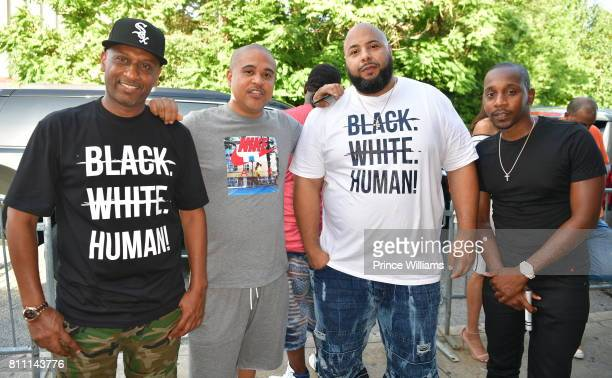 Alex Gidewon Irv Gotti Ryan Limbrick and Ruggs attend the Red White and Blue Day Party at Compound on July 3 2017 in Atlanta Georgia