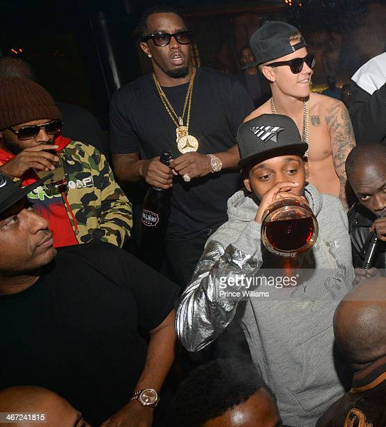 Alex Gidewon Jermain Dupri Sean 'Diddy' Combs Justin Bieber and Ruggs attend Ciroc party at Vanquish Lounge on February 5 2014 in Atlanta Georgia