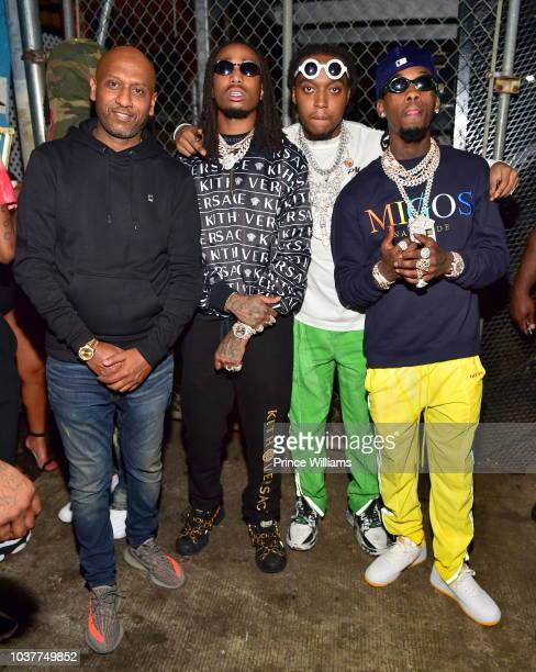 Alex Gidewon, Quavo, Takeoff and Offset of the group Migos attend Aubrey & The Three Migos tour after party at Rosebar Lounge on September 13, 2018...