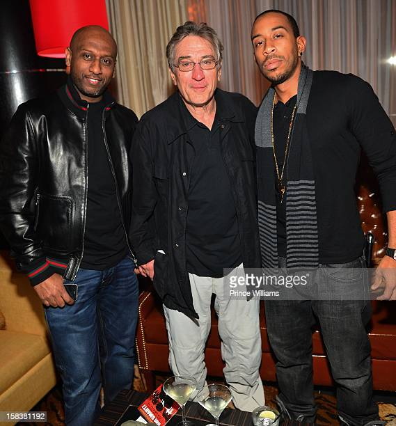 Alex Gidewon Robert De Niro and Ludacris attend Young Jeezy's Mixtape Release party at Vanquish Lounge on December 13 2012 in Atlanta Georgia