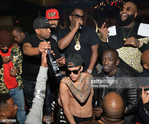 Alex Gidewon Stalley Sean 'Diddy' Combs Rick Ross Bu Thiam and Justin Bieber attend Ciroc party at Vanquish Lounge on February 5 2014 in Atlanta...