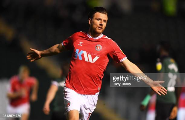 Alex Gilbey of Charlton Athletic celebrates after scoring their sides fourth goal during the Sky Bet League One match between Plymouth Argyle and...