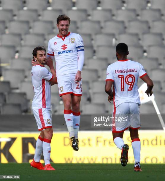 Alex Gilbey of Milton Keynes Dons celebrates scoring his side's first goal during the Sky Bet League One match between Milton Keynes Dons and Oldham...