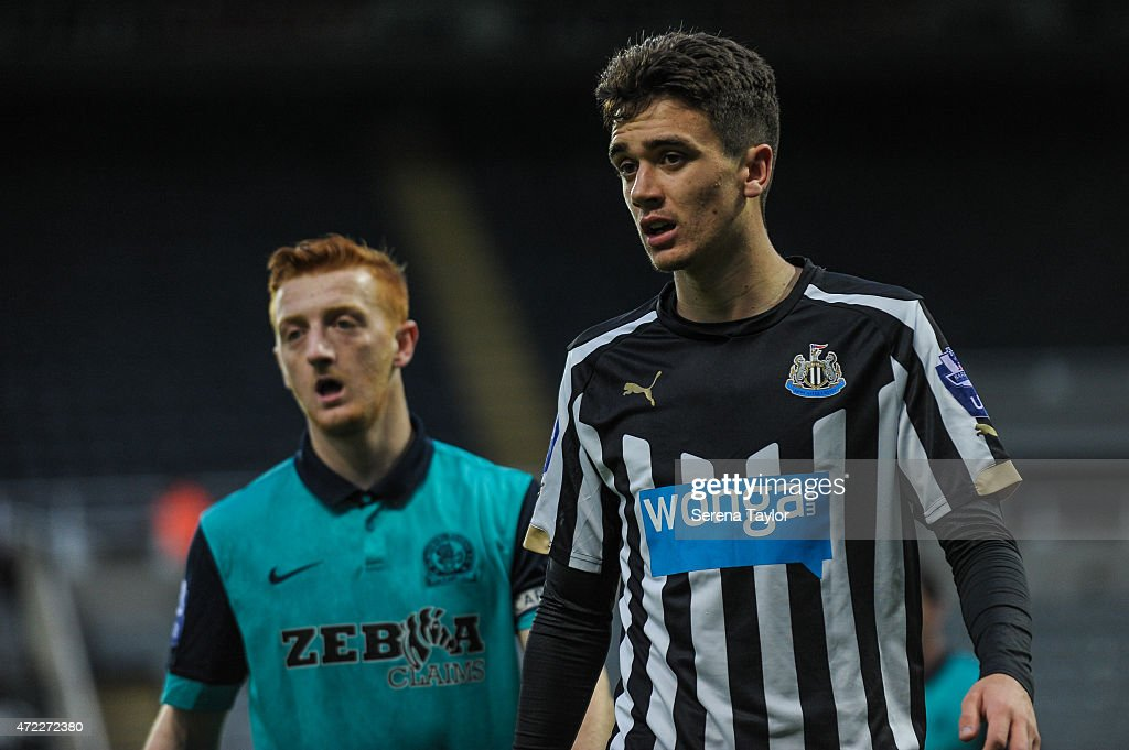 Alex Gilliead (R) of Newcastle and David Carson (L) of Blakburn Rovers during the Under 21 Premier League match between Newcastle United and Blackburn Rovers at St. James' Park on May 5, 2015, in Newcastle upon Tyne, England, United Kingdom.