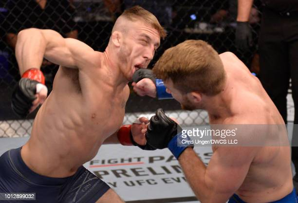 Alex Giplin punches JR Coughran in their featherweight fight during Dana White's Tuesday Night Contender Series at the TUF Gym on August 7 2018 in...