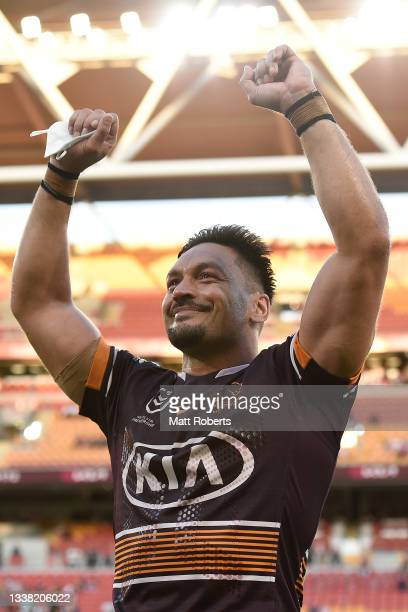 Alex Glenn of the Broncos acknowledges the fans after the round 25 NRL match between the Brisbane Broncos and the Newcastle Knights at Suncorp...