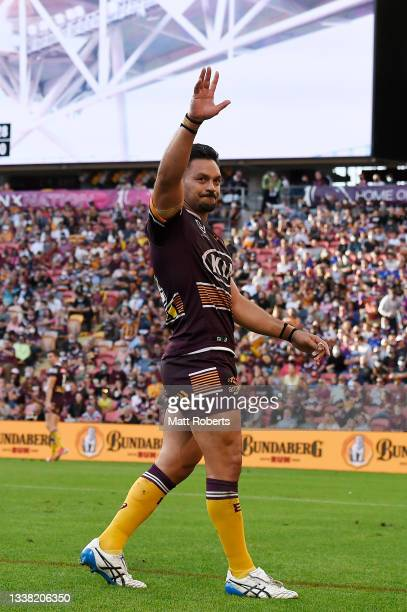 Alex Glenn of the Broncos acknowledges the fans during the round 25 NRL match between the Brisbane Broncos and the Newcastle Knights at Suncorp...