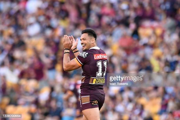 Alex Glenn of the Broncos celebrates during the round 25 NRL match between the Brisbane Broncos and the Newcastle Knights at Suncorp Stadium, on...
