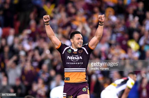 Alex Glenn of the Broncos celebrates victory after his team wins the NRL Semi Final match between the Brisbane Broncos and the Penrith Panthers at...