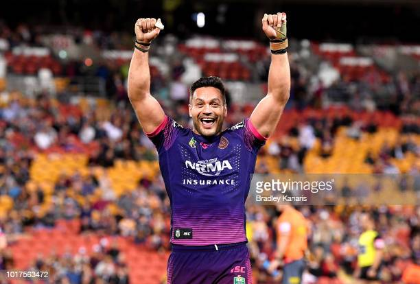 Alex Glenn of the Broncos celebrates victory after the round 23 NRL match between the Brisbane Broncos and the South Sydney Rabbitohs at Suncorp...