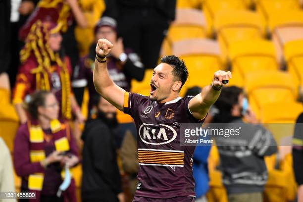 Alex Glenn of the Broncos celebrates with fans after his team's victory during the round 20 NRL match between the Brisbane Broncos and the North...