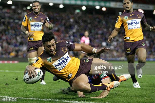 Alex Glenn of the Broncos scores a try during the round seven NRL match between the Newcastle Knights and the Brisbane Broncos at Hunter Stadium on...