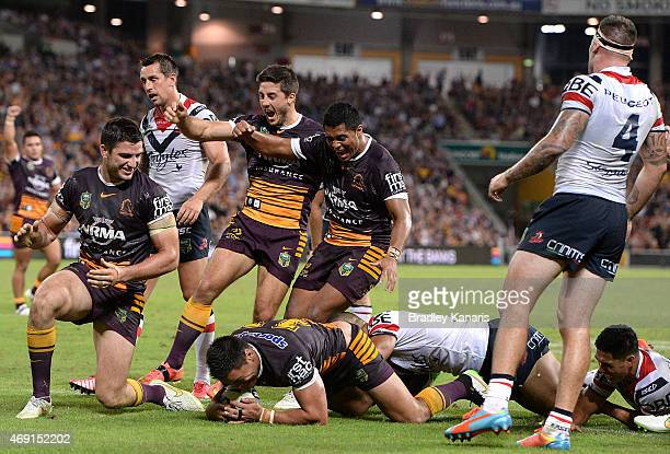 Alex Glenn of the Broncos scores a try during the round six NRL match between the Brisbane Broncos and the Sydney Roosters at Suncorp Stadium on...