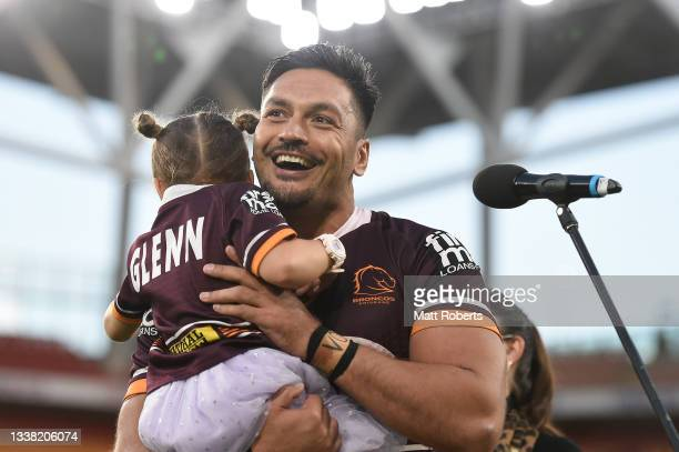 Alex Glenn of the Broncos speaks on stage after the round 25 NRL match between the Brisbane Broncos and the Newcastle Knights at Suncorp Stadium, on...