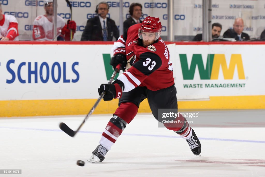 Alex Goligoski #33 of the Arizona Coyotes shoots the puck against the Detroit Red Wings during the third period of the NHL game at Gila River Arena on October 12, 2017 in Glendale, Arizona. The Red Wings defeated the Coyotes 4-2.