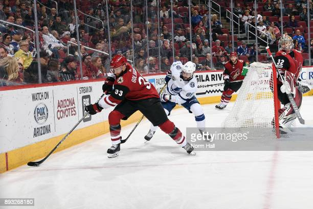Alex Goligoski of the Arizona Coyotes skates with the puck ahead of Nikita Kucherov of the Tampa Bay Lightning during the third period at Gila River...