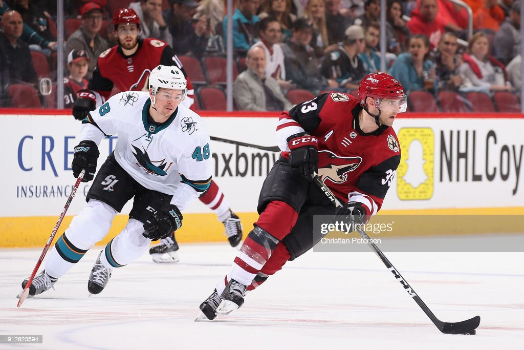 Alex Goligoski #33 of the Arizona Coyotes skates with the puck ahead of Tomas Hertl #48 of the San Jose Sharks during the second period of the NHL game at Gila River Arena on January 16, 2018 in Glendale, Arizona.